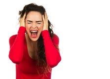 尖叫沮丧的妇女 免版税图库摄影