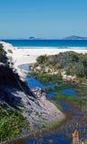 尖叫的在Wilsons海角-维多利亚澳大利亚的海滩潮汐小河 库存图片