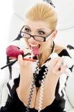 尖叫的女实业家 免版税库存图片
