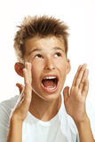 尖叫的男孩 免版税库存照片
