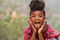尖叫的非裔美国人的女孩 免版税图库摄影