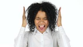 尖叫的黑人妇女,白色背景 股票视频