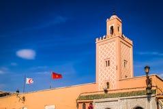 尖塔在马拉喀什, Moroco 免版税库存图片