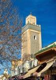 尖塔在Fes Jdid, Fes的三个部分之一,摩洛哥 库存照片