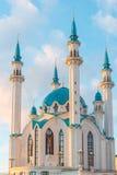 尖塔清真寺Kul谢里夫的看法日落的 coul喀山清真寺俄国sharif tatarstan 库存照片