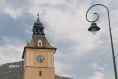尖沙咀钟楼在布拉索夫,特兰西瓦尼亚,欧洲 免版税图库摄影