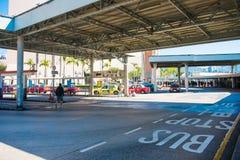 尖沙咀,香港- 2018年1月13日:公共汽车站措辞命令 图库摄影