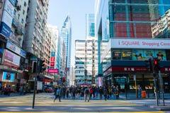 尖沙咀,香港- 2018年1月09日:许多人民进来 免版税库存图片