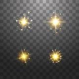 尘土是黄色的 黄色火花和金黄星发光与特别光 o 向量例证