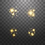 尘土是黄色的 黄色火花和金黄星发光与特别光 o 皇族释放例证