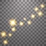 尘土是黄色的 黄色火花和金黄星发光与特别光 o 库存例证