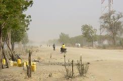 尘暴在南苏丹 免版税库存照片