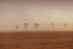 尘暴澳大利亚人农场 免版税库存照片