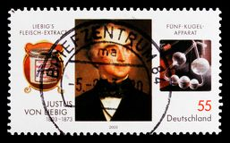 尤斯图斯・冯・李比希,尤斯图斯・冯・李比希serie诞生二百周年画象,大约2003年 免版税库存图片