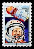 尤里・加加林和沃斯托克1,第一个人第25 Anniv空间serie的,大约1986年 免版税图库摄影