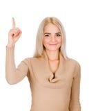 尤里卡。妇女有举她的手指的想法 免版税库存图片