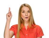 尤里卡 妇女有举她的手指的想法 库存图片