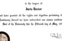 尤里斯Doctorate医生律师实践的法律学位 库存照片