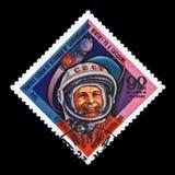尤里Gagagin,苏联宇航员,空间的第1个人,火箭航天器,大约1981年, 免版税图库摄影