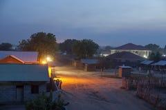 尤鲍,南苏丹在晚上 库存照片