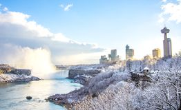 尼亚加拉瀑布在冬天,加拿大 图库摄影
