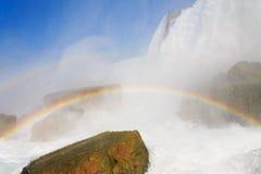 尼亚加拉瀑布的美国边有彩虹的 免版税图库摄影