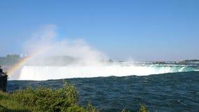 尼亚加拉瀑布风景和彩虹 股票视频