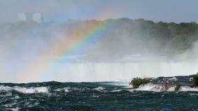 尼亚加拉瀑布风景和彩虹 股票录像