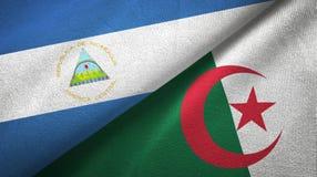 尼加拉瓜和阿尔及利亚两旗子纺织品布料,织品纹理 向量例证