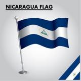 尼加拉瓜的尼加拉瓜旗子国旗杆的 库存例证