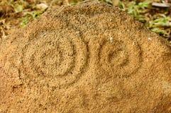 尼加拉瓜,在Ometepe海岛的刻在岩石上的文字 图库摄影