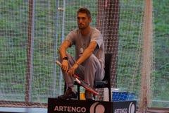 尼古拉斯Escude (FRA) -教练Jo威尔弗里德Tsonga (FRA) 库存图片
