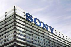 索尼在总部修造的公司商标 库存图片