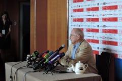 尼基塔・米亥科夫在第39莫斯科国际影片竞赛新闻会议  免版税库存照片