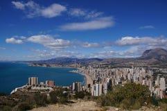 贝尼多姆,阿利坎特,西班牙, playas莱万特y Poniente, litoral阿利坎特 库存照片