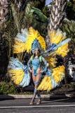 尼斯狂欢节,花`争斗 桑巴舞蹈家 免版税库存照片