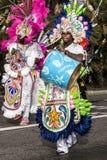 尼斯狂欢节,花`争斗 波里尼西亚的传统服装游行  库存图片