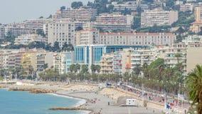 尼斯timelapse,法国美丽的全景鸟瞰图城市 陆间海,天使海湾  股票录像