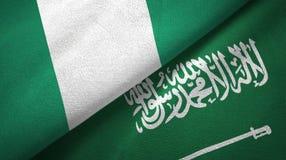尼日利亚和沙特阿拉伯旗子纺织品布料 向量例证
