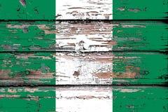 尼日利亚的国旗木背景的 库存图片