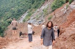尼泊尔。 山崩。 免版税库存图片