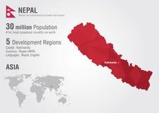 尼泊尔与映象点金刚石纹理的世界地图 库存图片