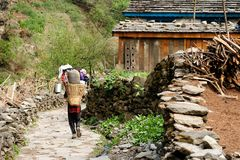 尼泊尔喜马拉雅山山 库存照片