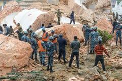 尼泊尔地震在加德满都 免版税图库摄影