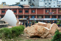 尼泊尔地震在加德满都 免版税库存图片