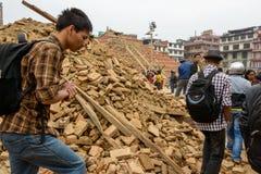 尼泊尔地震在加德满都 免版税库存照片