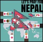 尼泊尔地震 为尼泊尔祈祷 人帮助尼泊尔传染媒介illustr 免版税库存照片