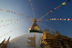 尼泊尔塔swayambhunath 库存照片