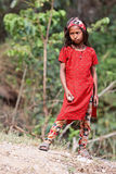 尼泊尔女孩画象红色礼服的 免版税库存照片