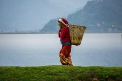 尼泊尔妇女运载的物品 图库摄影